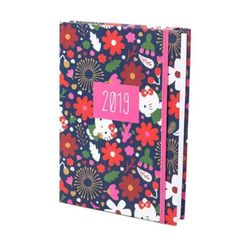 agenda-diaria-2019-pequena-hello-kitty-flowers-teca